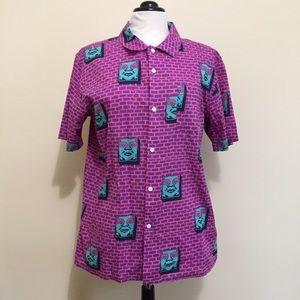 Obey Rare Brick Wall Button Up Shirt Medium